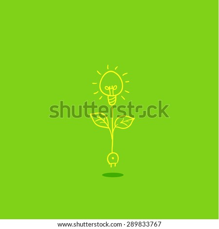 light bulb with green sprout, vector icon of ecological system - stock vector