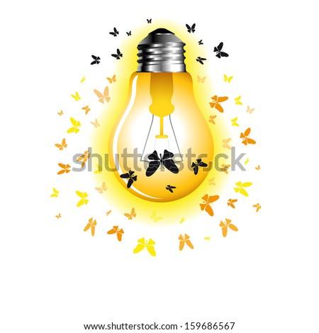 Light Bulb with moth - vector illustration - stock vector