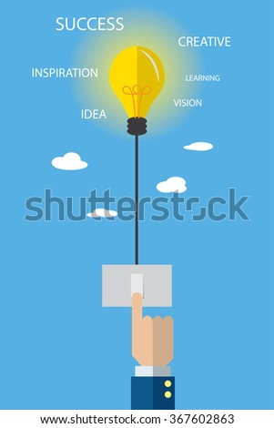 light bulb with switch and business hand, idea and business concept - stock vector