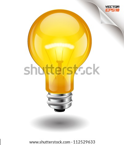 light bulb yellow vector. - stock vector