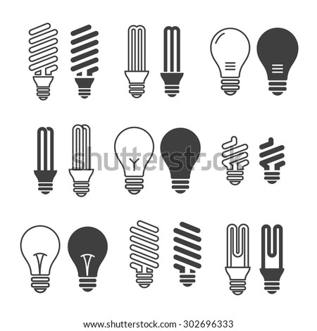Light bulbs. Bulb icon set. Isolated on white background. Electricity saving - stock vector