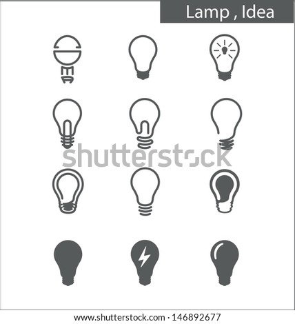 Light bulbs, Idea - stock vector