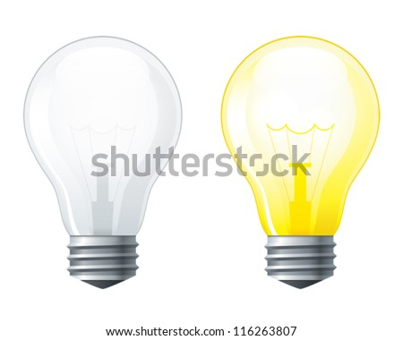 Light bulbs set, turned off and glowing yellow light bulb, EPS10 file with transparent  objects - stock vector