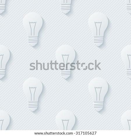 Light bulbs wallpaper. 3d seamless background. Vector EPS10. - stock vector