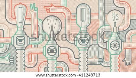 Light bull machines. Pop art style background - stock vector