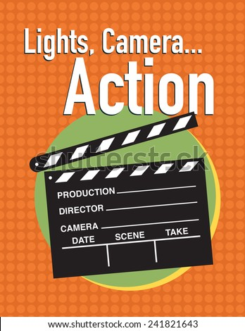 Light, camera, action movie poster with clapper slate - stock vector