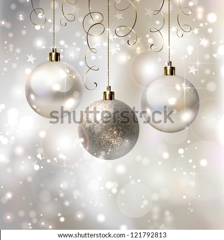 light Christmas background with evening balls - stock vector