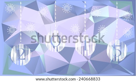 Light christmas card with white bulbs and triangles - stock vector