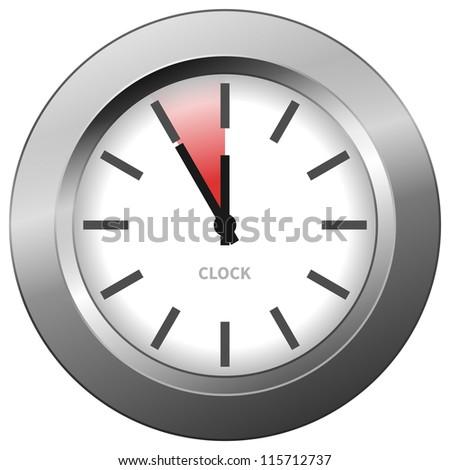 Light Clock - Light chrome clock with five minutes to twelve - stock vector