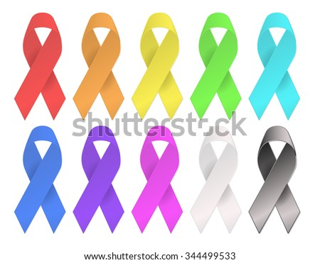 light colors cancer awareness multi color ribbons - stock vector