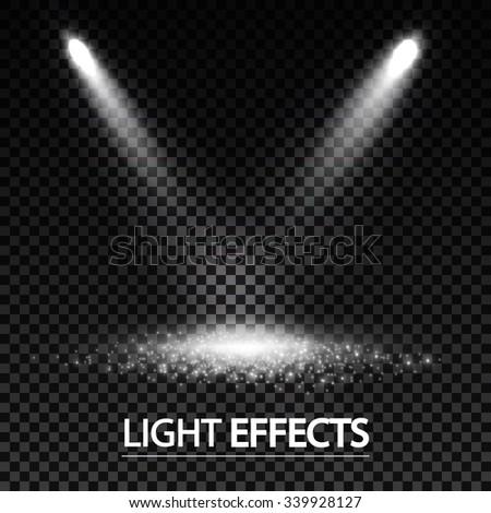 Light Effect. Spotlights & Shining Floor. Transparent Elements. Vector illustration - stock vector