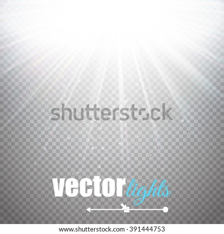 Light effect, sun rays, beams on transparent background. Vector illustration - stock vector