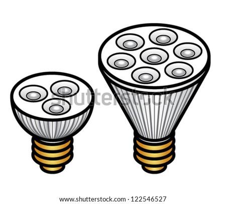 Light emitting diode (LED) spotlight bulbs in two different sizes/brightness. - stock vector