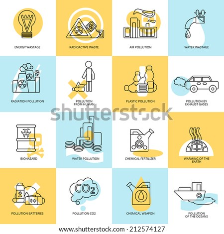 Light energy emission and water wastage human litter pollution symbols flat line abstract collection isolated vector illustration - stock vector