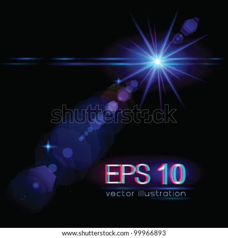 Light flare special effect (star) - vector illustration. - stock vector
