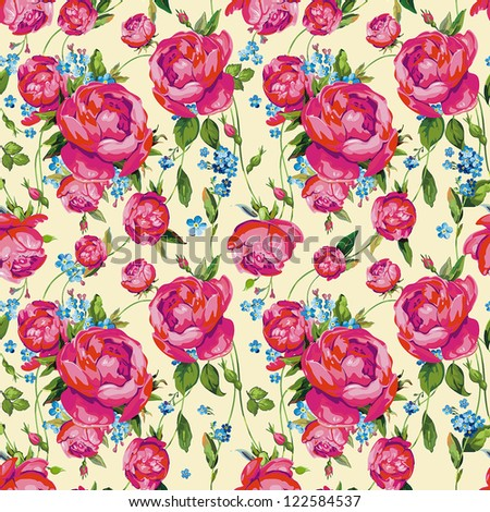 Light floral vintage seamless pattern for retro wallpapers. Floral vector illustration. - stock vector