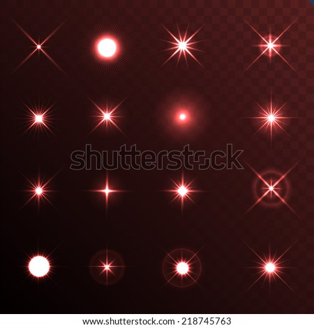 Light Glow Flare Stars Effect Set. Vector - stock vector