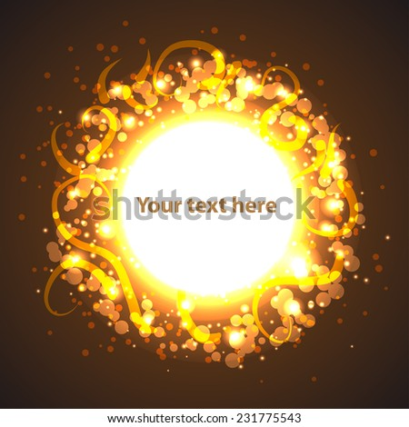light gold circle banner. Background for your design - stock vector