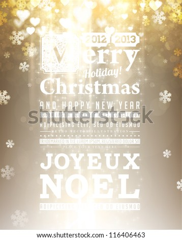 Light golden abstract Christmas background with white glow snowflakes for Xmas design. - stock vector