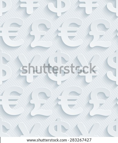 Light gray currency symbols wallpaper. 3d seamless background. Vector EPS10. See others in My Perforated Paper Sets. - stock vector
