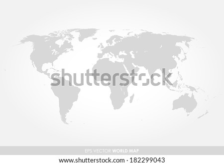 Light gray detailed world map on white background - stock vector