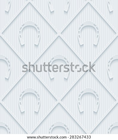 Light gray horseshoes wallpaper. 3d seamless background. Vector EPS10. See others in My Perforated Paper Sets. - stock vector