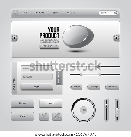 Light Gray UI Controls Web Elements 3: Buttons, Login Form, Authorization, Sliders, Banner, Box, Preloader, Loader, Tag Labels - stock vector