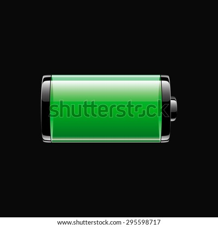 light green glossy battery icon on dark background, full charge level, vector illustration - stock vector