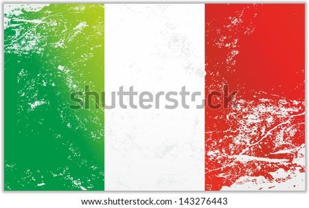 Light grunge effect flag of Italy - stock vector