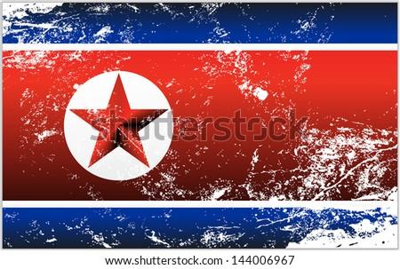 Light grunge effect flag of North Korea - stock vector