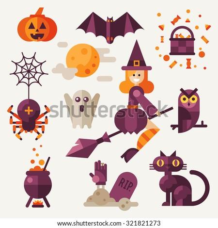 Light halloween set. Halloween attributes: pumpkin, bat, spider with web, owl, witch on a broom, black cat, grave, pot ,spooky ghost. Flat vector illustration set.  - stock vector