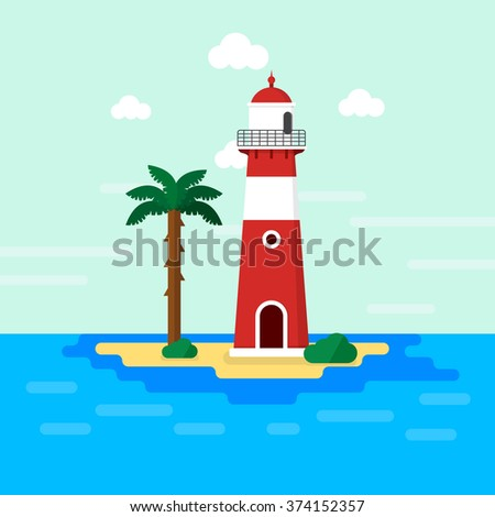 Light house on island / Minimal flat design - stock vector