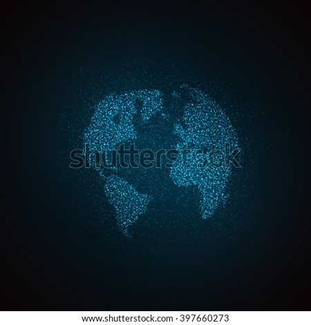 light it up blue. vector illustration of a world map. globe label design. world global communication concept. international communication concept. global world vector map. vector world map - stock vector