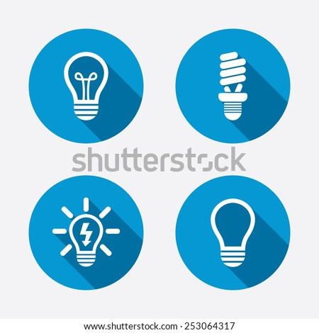 Light lamp icons. Fluorescent lamp bulb symbols. Energy saving. Idea and success sign. Circle concept web buttons. Vector - stock vector