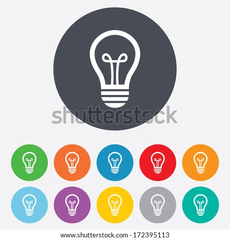 Light lamp sign icon. Idea symbol. Round colourful 11 buttons. Vector - stock vector