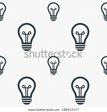 Light lamp sign icon. Idea symbol. Seamless grid lines texture. Cells repeating pattern. White texture background. Vector - stock vector