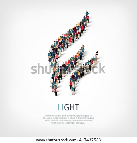 light people sign 3d - stock vector