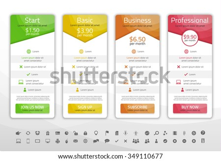 Light pricing list with 4 options. Different shapes of tables. Icon set included - stock vector