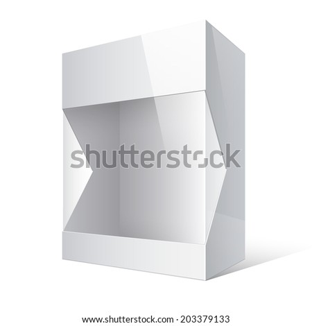 Light Realistic Open Package Cardboard Box with a transparent plastic window. Vector illustration - stock vector