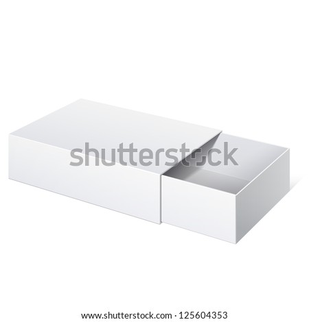 Light Realistic Package Cardboard Sliding Box Opened. For small items, matches, and other things. Vector Illustration - stock vector