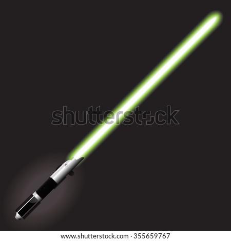 Light saber blade, Energy sword, futuristic science fiction energy weapon. Vector Illustration. - stock vector