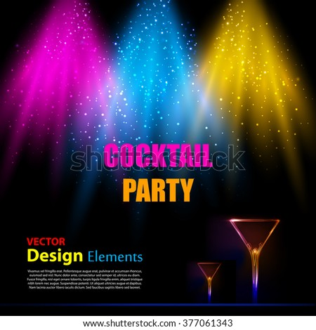 Light scene with cocktail party background - stock vector