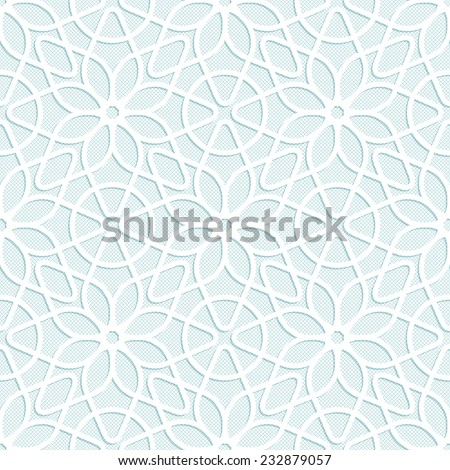 Light seamless texture convex white lace floral pattern in oriental style - stock vector