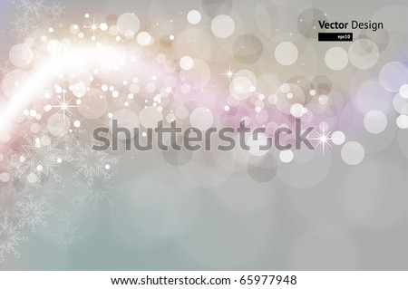 Light silver abstract Christmas background with white snowflakes - stock vector