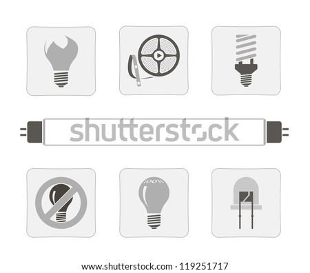 light sources. a set of seven vector icons - stock vector