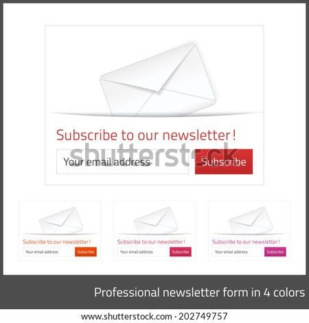 Light Subscribe to newsletter form with white background and button in 4 warm tones - stock vector