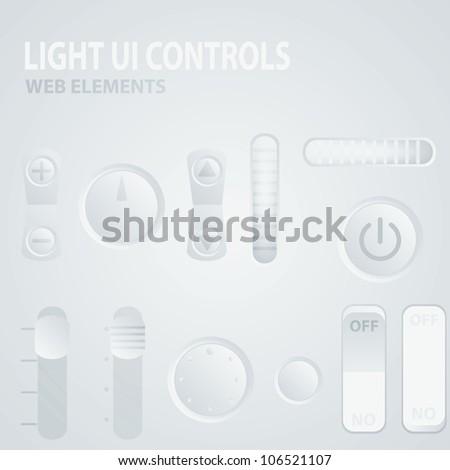 Light UI Controls Web Elements - stock vector
