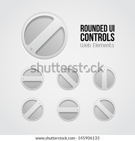 Light UI Controls Web Elements: Rotate Volume Knob, Player, Audio, Video, Equalizer, Amplifier.  - stock vector