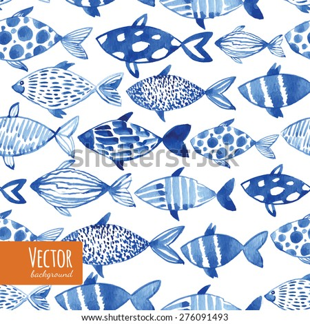 Light watercolor blue fishes on the black background. Seamlessly tiling fish pattern. Vector. - stock vector