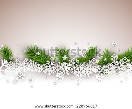 Light winter abstract background. Christmas illustration with snow and fir branches. Vector.  - stock vector